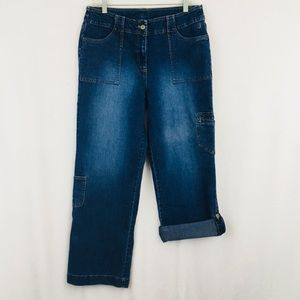 Duck Head Cargo Jeans Roll Button Hem medium wash